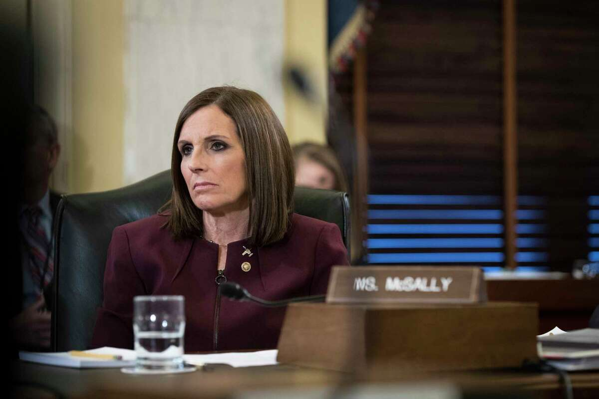 Sen. Martha McSally (R-Ariz.) participates in a Senate Armed Services Committee hearing on sexual assault in the military, on Capitol Hill in Washington, March 6, 2019. McSally, the first American woman to fly in combat, said Wednesday that she had been raped by a superior officer while serving in the Air Force, an experience that almost led her to quit the military. (Sarah Silbiger/The New York Times)