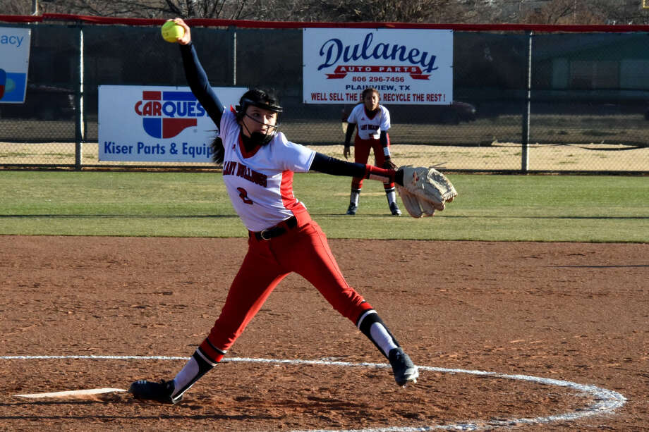 Plainview Lady Bulldog Esme Lucio (2) delivers a strike to a Palo Duro batter during District 3-5A softball action on Wednesday at Lady Bulldogs Park in Plainview. Right fielder Mariah Chavez (right) looks on. Photo: Claudia Lusk/Plainview Herald