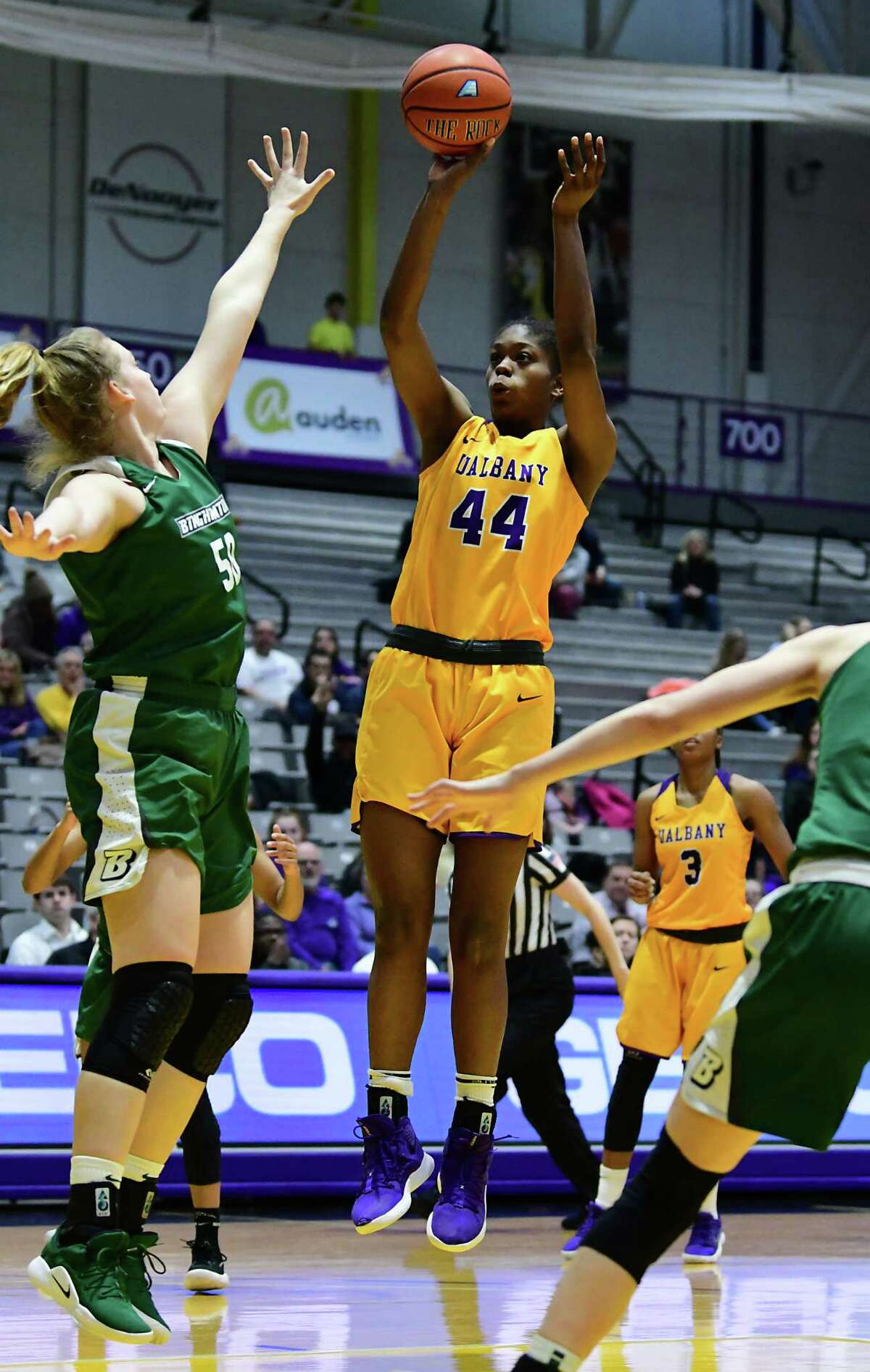 University at Albany's Chyanna Canada puts one up against Binghamton's Kaylee Wasco during a basketball game at the SEFCU Arena on Wednesday, March 6, 2019 in Albany, N.Y. (Lori Van Buren/Times Union)