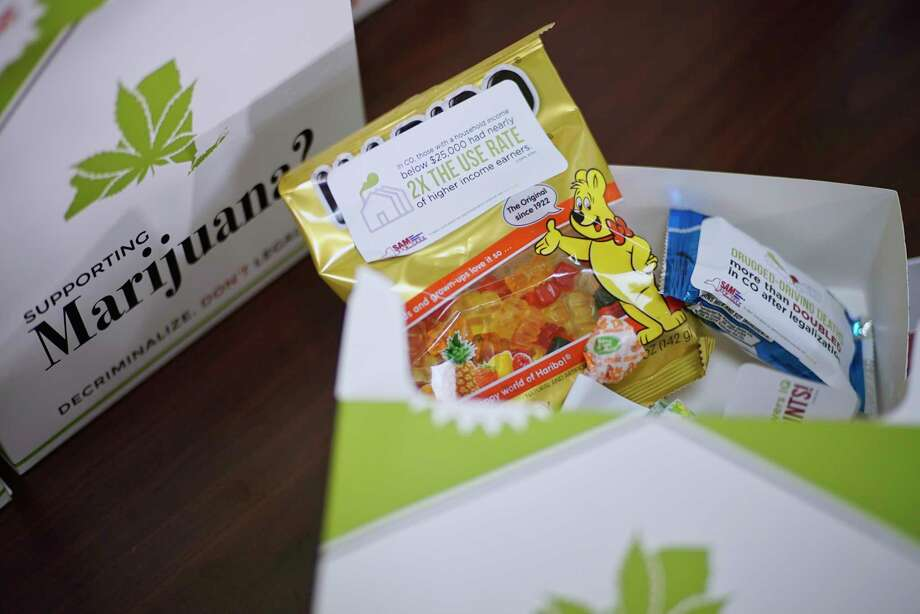 "A view of the  ""Pot Packs"" which along with information had examples of the kind of products that are being sold in other states where marijuana has been legalized, is seen at a press event put on by the organization, Smart Approaches to Marijuana New York, at the Legislative Office Building on Wednesday, March 6, 2019, in Albany, N.Y. The event was held by people who were calling on legislators to slow down their rush to legalize marijuana and to study the issue more. The ""Pot Packs"" were handed out to legislators.   (Paul Buckowski/Times Union) Photo: Paul Buckowski / (Paul Buckowski/Times Union)"