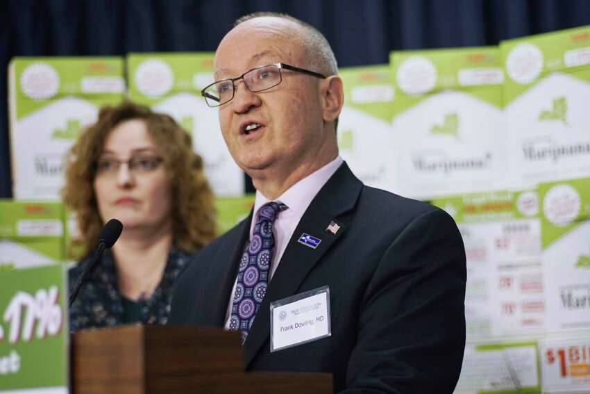 Doctor Frank Dowling, secretary of the Medical Society of the State of New York, addresses those gathered for a press event at the Legislative Office Building on Wednesday, March 6, 2019, in Albany, N.Y. The event was held by people who were calling on legislators to slow down their rush to legalize marijuana and to study the issue more. Following the event people with the organization handed out to legislators