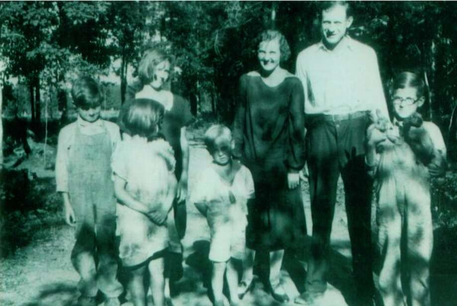 The First Generation: Ray and Edith (Stickney) with their five children. In the back, from left, are Velma, Edith and Ray. In the front, from left, are Jimmy, Elva, Victor and Elmer. Ray moved his family from Flint to Houghton Lake in 1925 where he opened up a guide service for sportsmen and built log cabins. Some are still standing today.