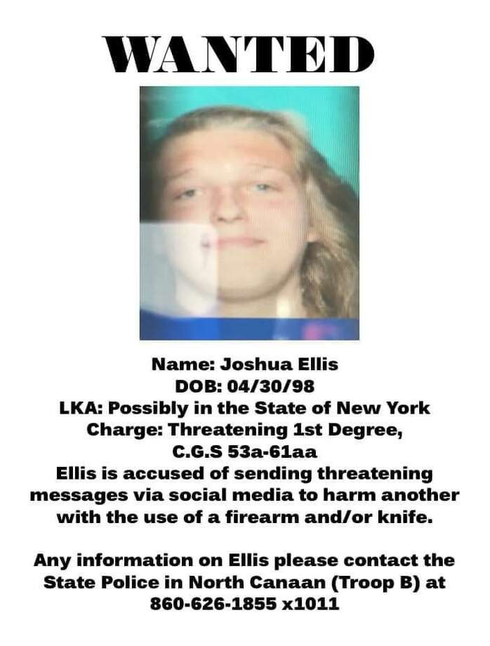 Joshua Ellis, 20, is being sought by state police for allegedly threatening someone with a gun or knife over social media. Photo: Connecticut State Police