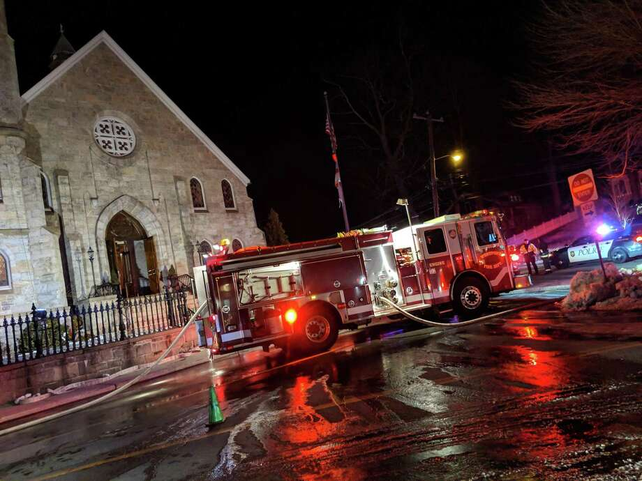 A fire broke out at the Christ & Holy Trinity Episcopal Church in Westport around 8:30 p.m. Wednesday. Photo: Westport Fire Dept.