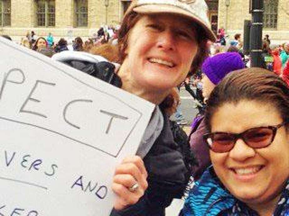 Darien resident Holly Russell, left, with a friend at the 2017 Women's March in Washington, D.C. Photo: Contributed Photo / Stamford Advocate  contributed