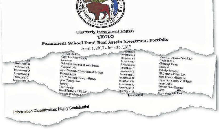 For years, many of the School Land Board's investment reports were labeled 'highly confidential.' Photo: Staff Photo Illustration