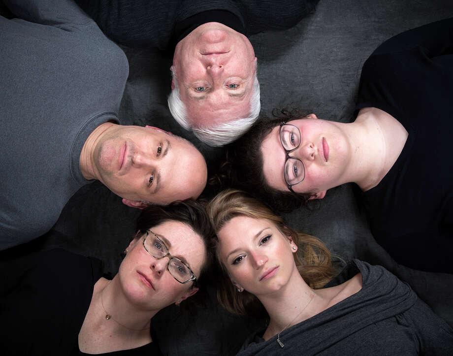 "Theater Voices' production of ""Circle Mirror Transformation"" by Annie Baker, during its 2018-19 season, featured, clockwise from left, Tony Pallone, Steve King, Sivan Adler, Lucy Miller and Mary Jane Hansen. Photo: Katria Foster, Theater Voices"