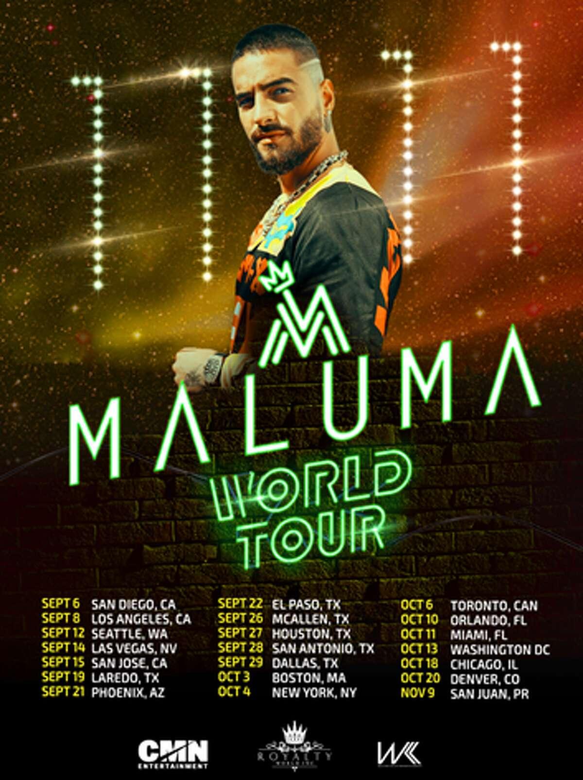 Maluma will return to San Antonio on Sept. 28.