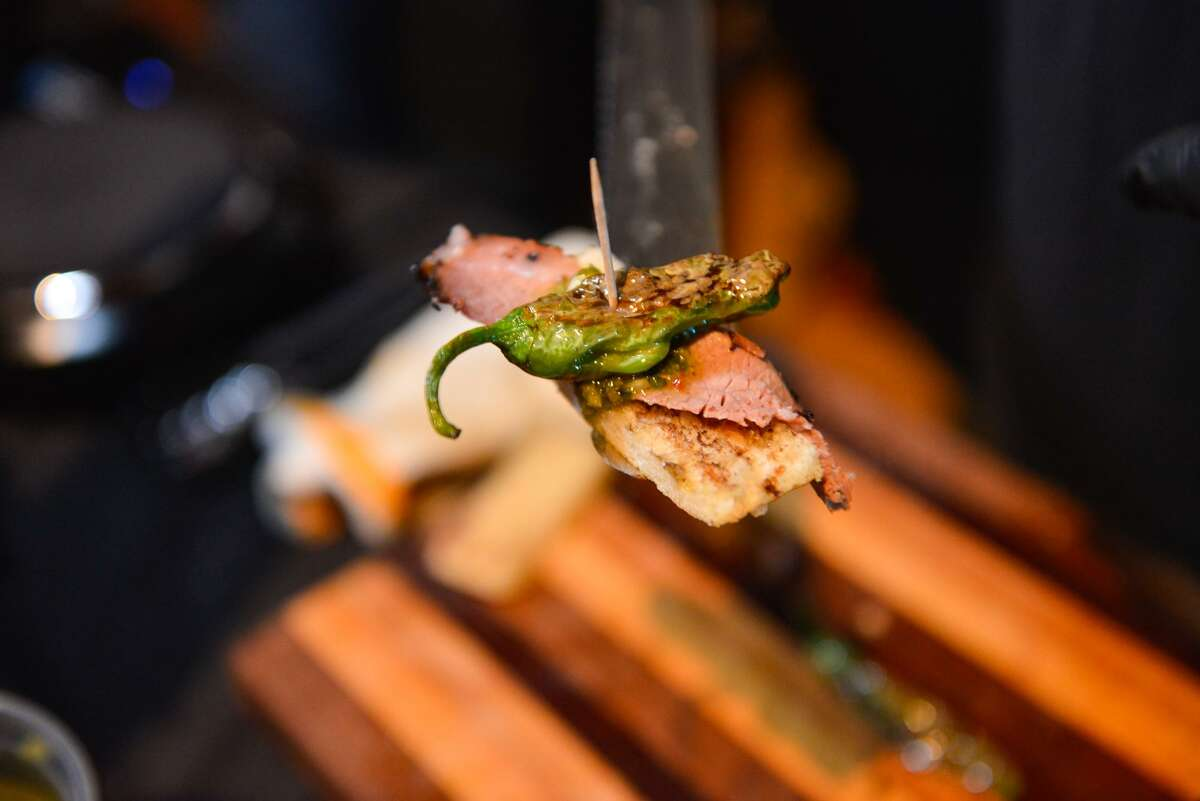 """A Wagyu brisket canape from Black Board Bar B Q at the release of the Express-News """"Top 100 Dining & Drinks"""" guide at the McNay Art Museum."""