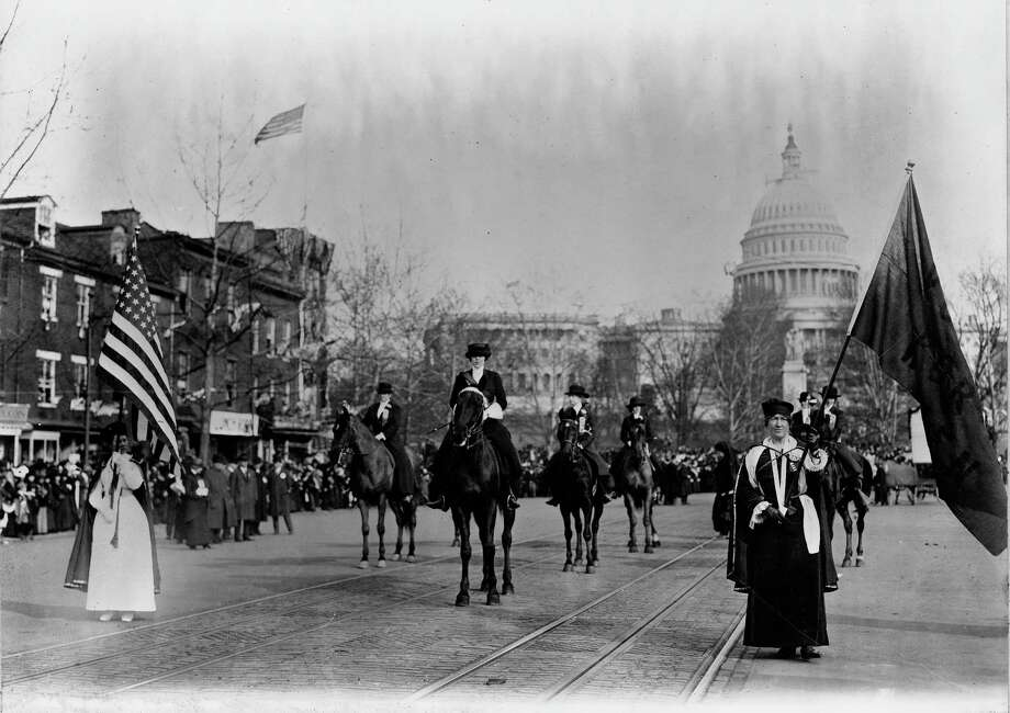 """""""Head of Suffrage Parade, Washington, D.C., 1913"""" is among the images featured in Norwalk's Lockwood-Mathews Mansion Museum exhibit, """"From Corsets to Suffrage: Victorian Women Trailblazers,"""" which opens May 16. Photo: Lockwood-Mathews Mansion Museum / Contributed Photo"""