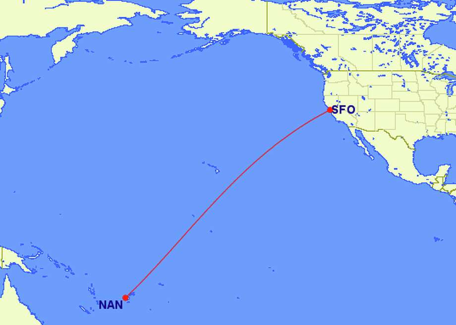 SFO to Nadi, Fiji (NAN) is about 5,500 miles and 11 hours nonstop on Fiji Airways Photo: GReat Circle Mapper