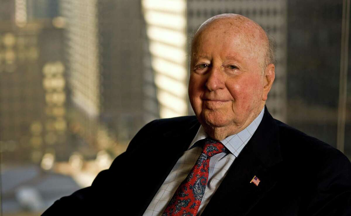George Mitchell, Chairman and CEO of The Mitchell Family Corporation, is seen in a Nov. 11, 2009 photo, in his downtown Houston office. Mitchell, Texas oil man, real estate developer, and one of Houston's wealthiest businessmen, died Friday, July 26, 2013 at his home in Galveston, a spokeswoman said. He was 94. (AP Photo/Houston Chronicle, Nick de la Torre)