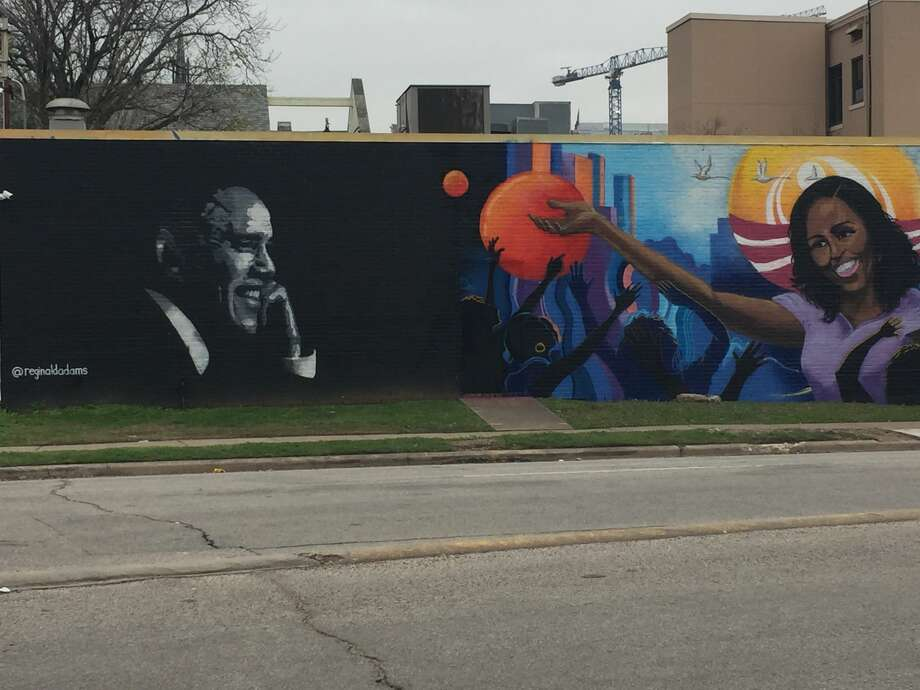 The Michelle Obama mural is located adjacent to a mural of Former President Barack Obama, across the street from The Breakfast Klub in Midtown. Photo: Courtesy
