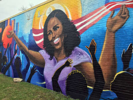 Michelle Obama mural at the Breakfast Klub in Houston.