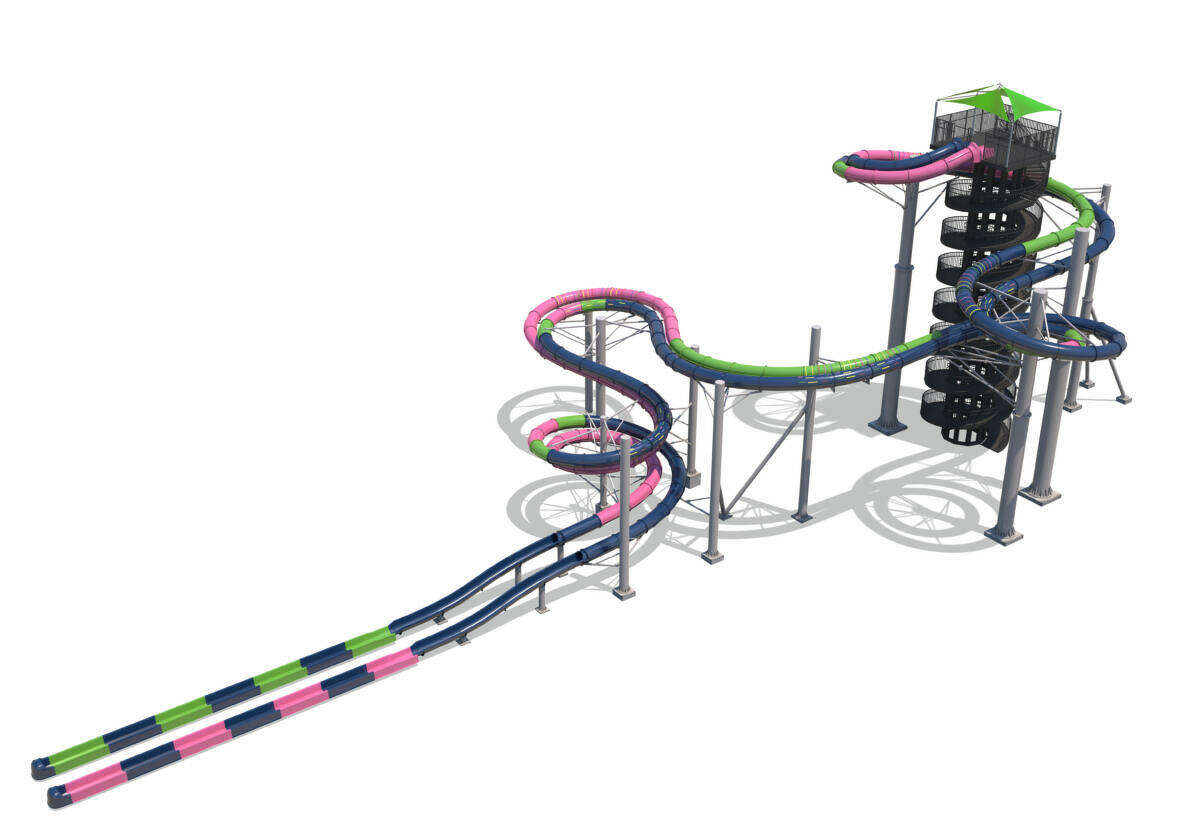 A new space-themed, multi-million dollar water park ride is slated to open at Schlitterbahn Galveston this June. Guests will slide down the eight-story ride head first in nearly fully-enclosedslides encased in multi-colored fiberglass that create unique lighting effects, according to a release from the water park.