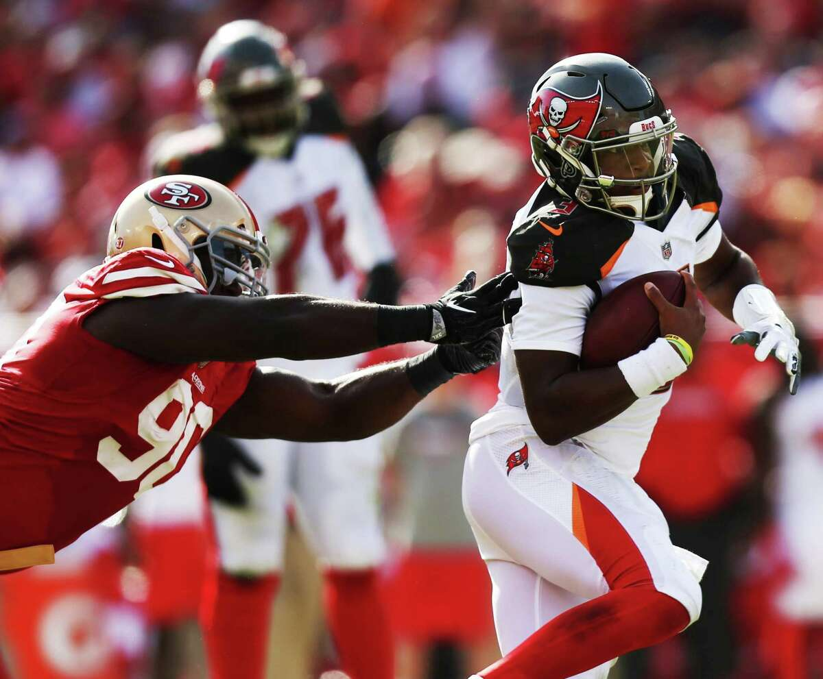 Tampa Bay Buccaneers quarterback Jameis Winston (3) runs the ball for a gain of 15 yards and a first down during the second quarter against the San Francisco 49ers on Sunday, Nov. 25, 2018 at Raymond James Stadium in Tampa, Fla. (Tailyr Irvine/Tampa Bay Times/TNS)