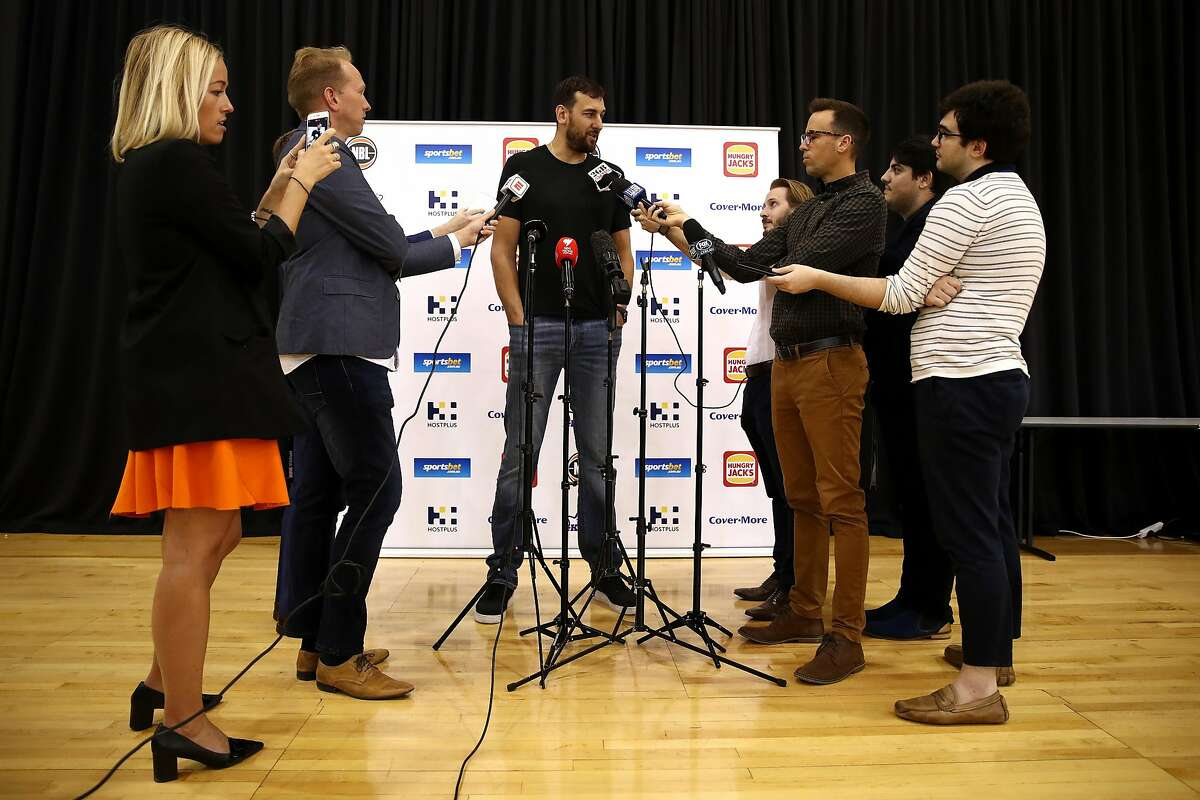Andrew Bogut speaks to the media during a press conference announcing his short term contract with the Golden State Warriors, at Qudos Bank Arena on March 07, 2019 in Sydney, Australia.