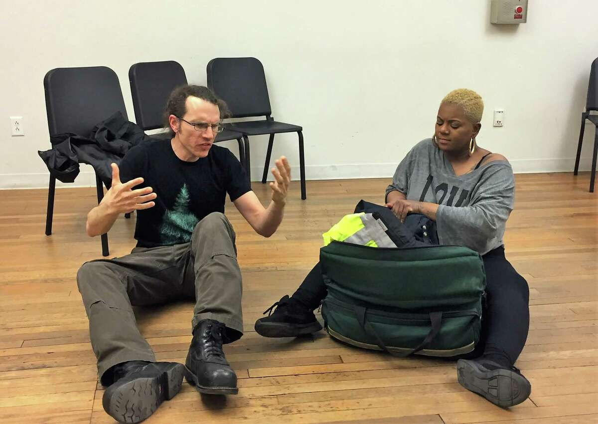 Rick Curtis, left, and Kelley Knight in a rehearsal space in New Haven.