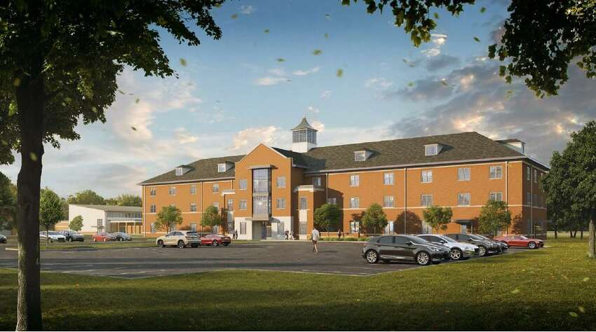 A rendering showing what a new recruit housing building will look like at the state Department of Corrections and Community Supervision's Albany Training Academy.
