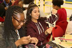 Central High School students working on the Generation Beyond Aviation challenge to design or modify an aircraft for humanitarian aid or disaster relief. In Bridgeport, March 6, 2019
