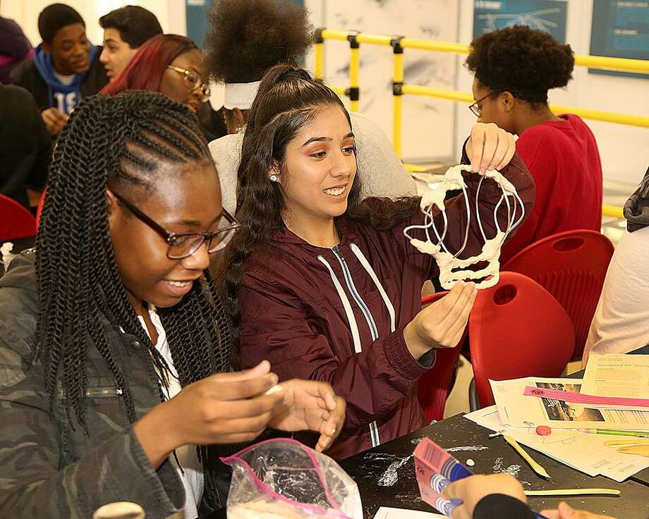 Central High School students working on the Generation Beyond Aviation challenge to design or modify an aircraft for humanitarian aid or disaster relief. In Bridgeport, March 6, 2019 Photo: Contributed