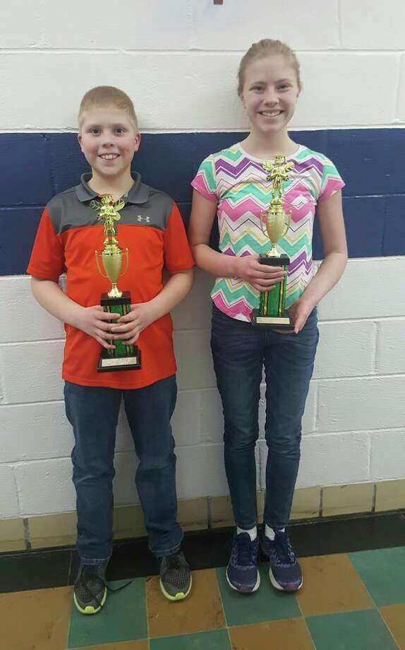 Peyton Roggenbuck, fifth grader, and his sister Savana Roggenbuck, seventh grader, both from Our Lady of Lake Huron School in Harbor Beach, won first place at the Regional Knights of Columbus Spelling Bee. They are the son and daughter of Jonathan and Michele Roggenbuck of Harbor Beach. (Submitted Photo)