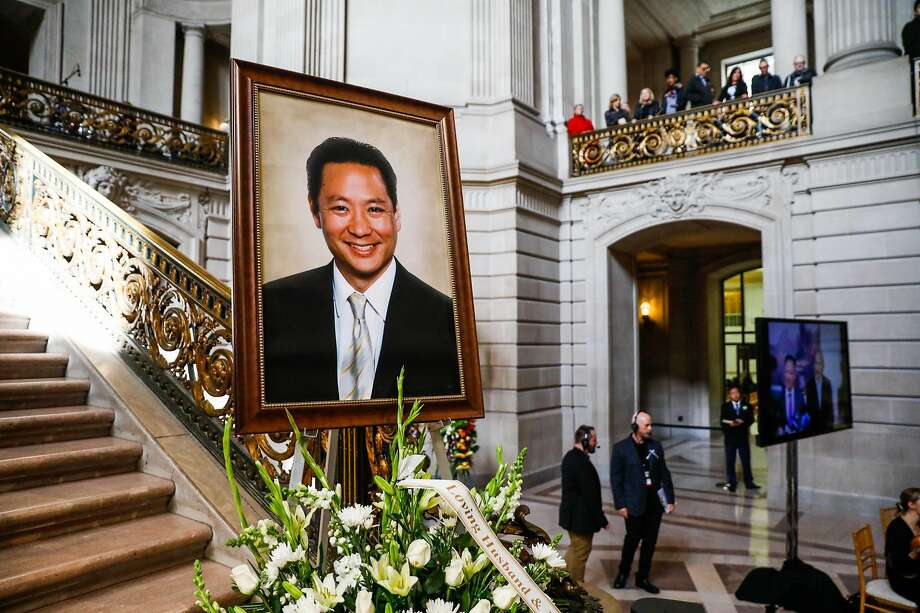A photo of Public Defender Jeff Adachi is on display ahead of his memorial service at City Hall in San Francisco, California, on Monday, March 4, 2019. Photo: Gabrielle Lurie / The Chronicle