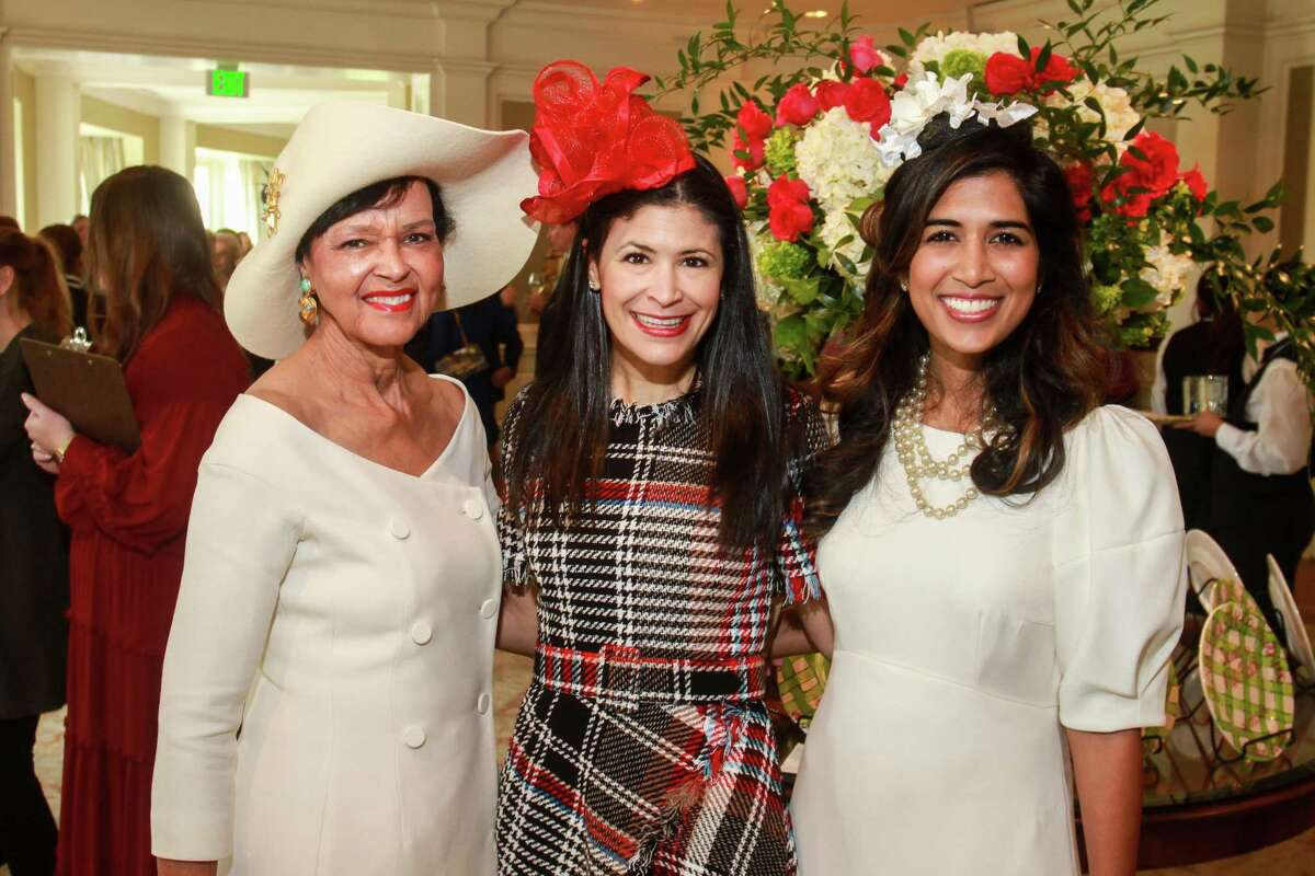 Gayla Gardner, from left, Kristy Bradshaw and Divya Brown at the Hats Off to Mother's Luncheon at River Oaks Country Club.