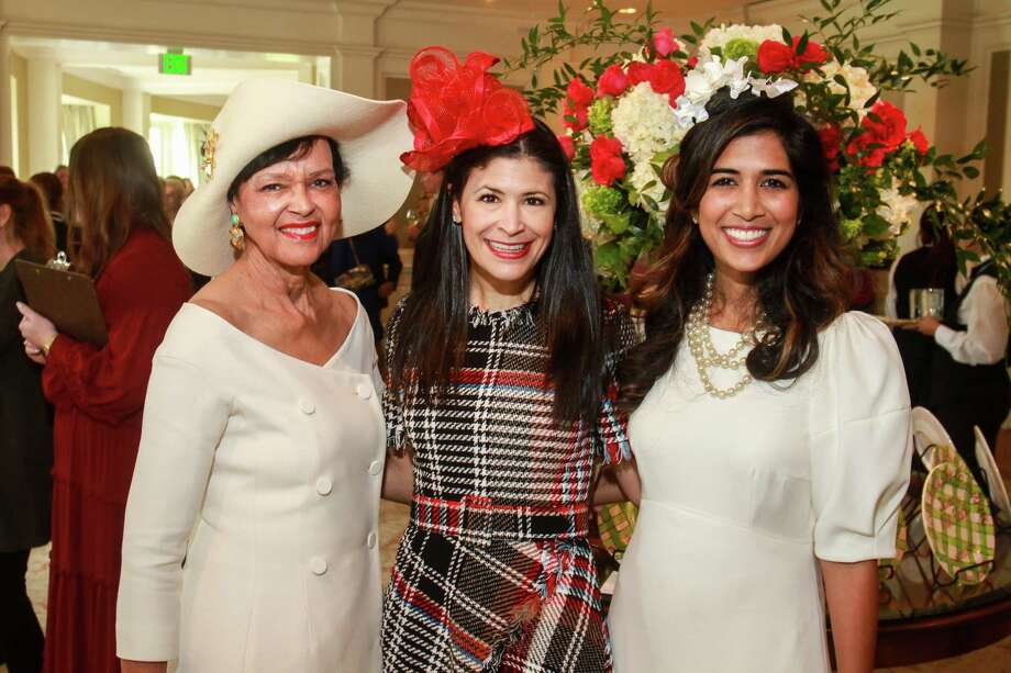 Gayla Gardner, from left, Kristy Bradshaw and Divya Brown at the Hats Off to Mother's Luncheon at River Oaks Country Club. Photo: Gary Fountain, Contributor / © 2019 Gary Fountain