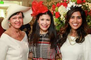 EMBARGOED FOR SOCIETY REPORTER UNTIL MARCH 7 Gayla Gardner, from left, Kristy Bradshaw and Divya Brown at the Hats Off to Mother's Luncheon at River Oaks Country Club.
