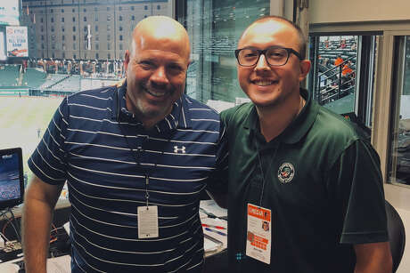 Dominic Controneo, right, is following his father Vince into baseball broadcasting. The younger Cotroneo will work for the Astros' Class AA affiliate in Corpus Christi. Vince Controneo, now with the A's, was with the Astros from 1991-97.