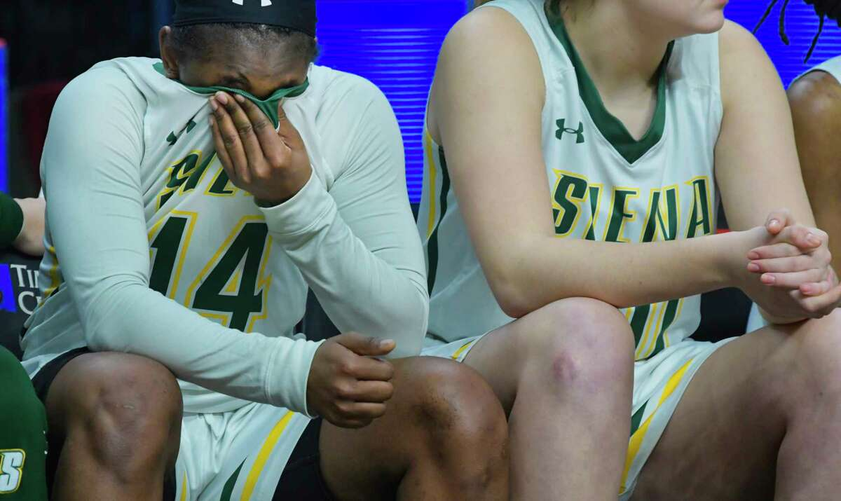 Joella Gibson of Siena sits on the bench after fouling out during their game against Iona in the MAAC Tournament on Thursday, March 7, 2019, in Albany, N.Y. (Paul Buckowski/Times Union)