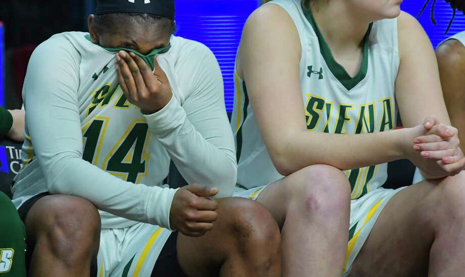Joella Gibson of Siena sits on the bench after fouling out  during their game against Iona in the MAAC Tournament on Thursday, March 7, 2019, in Albany, N.Y.  (Paul Buckowski/Times Union) Photo: Paul Buckowski, Albany Times Union / (Paul Buckowski/Times Union)