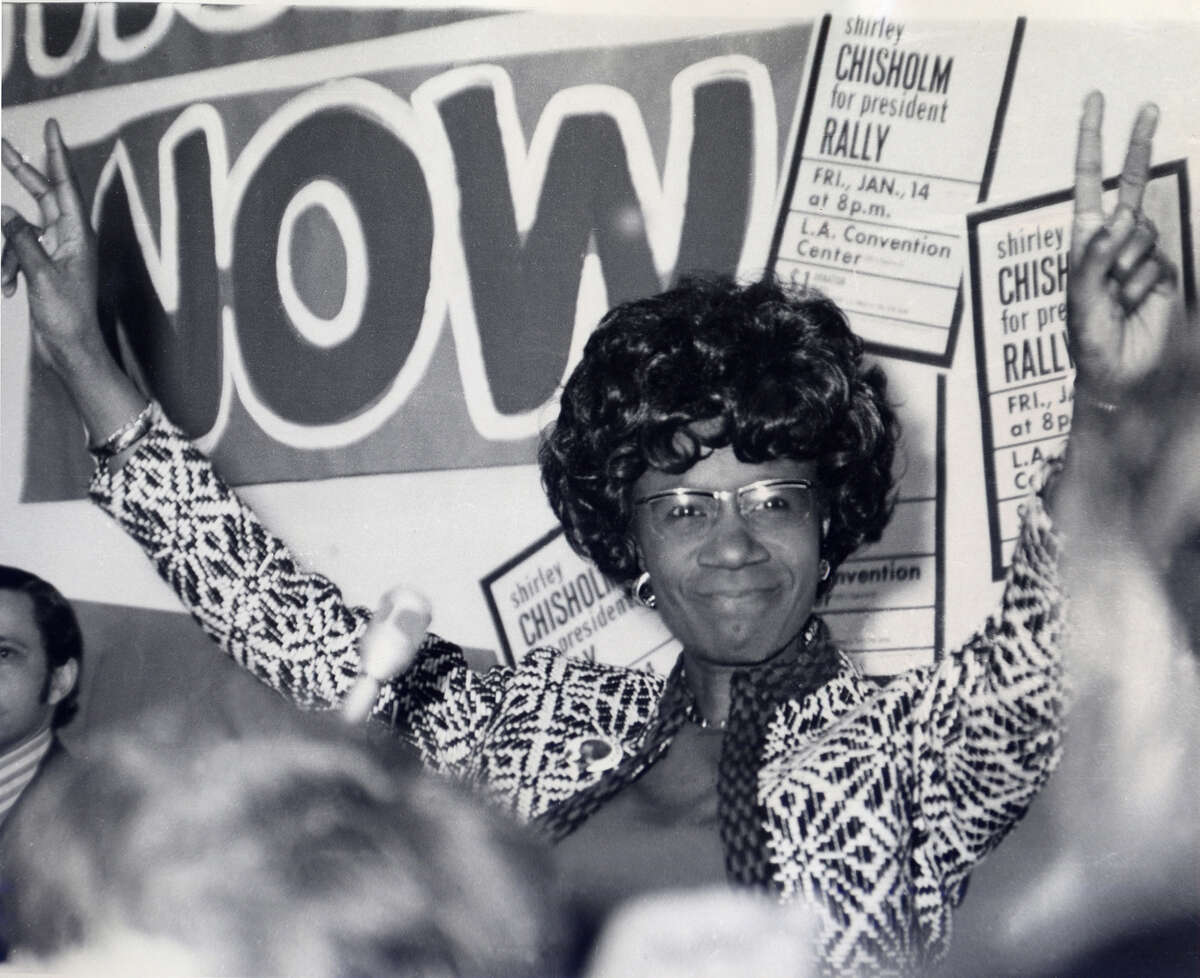 This promotional photo provided by PBS Television shows Shirley Chisholm campaigning for president in 1972.