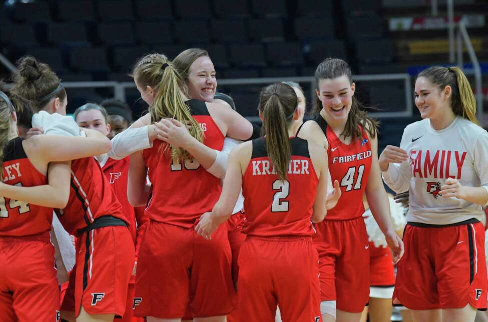 Fairfield players celebrate their win against Niagara at the MAAC Tournament on Thursday, March 7, 2019, in Albany, N.Y. (Paul Buckowski/Times Union)