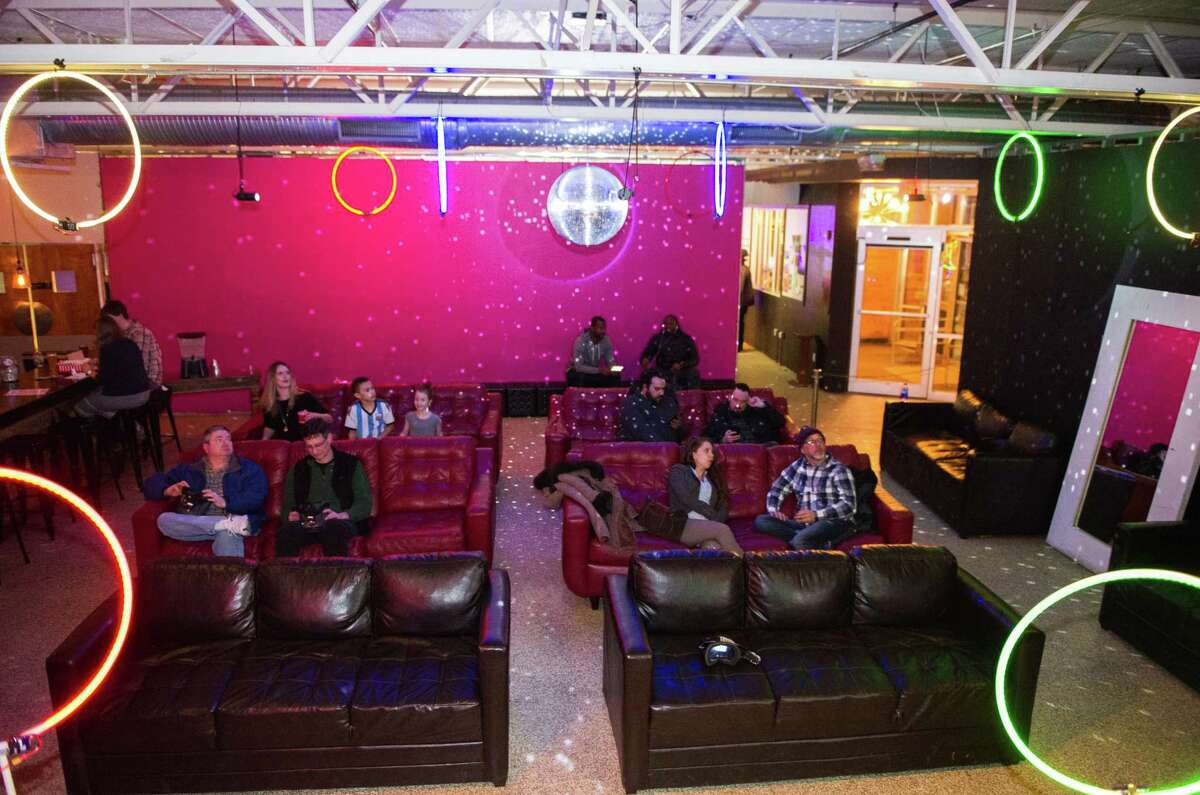 Hoops set up at the Troy Kitchen where members of the Full Tilt FPV Drone Racing Club raced their drones on March 5, 2019. (Jim Franco/Special to the Times Union)