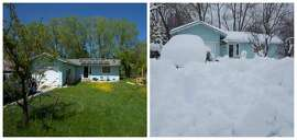 A home in Shasta in springtime on the left. The same house on March 1, 2019, amid a winter marked by storms delivering low-elevation snow.