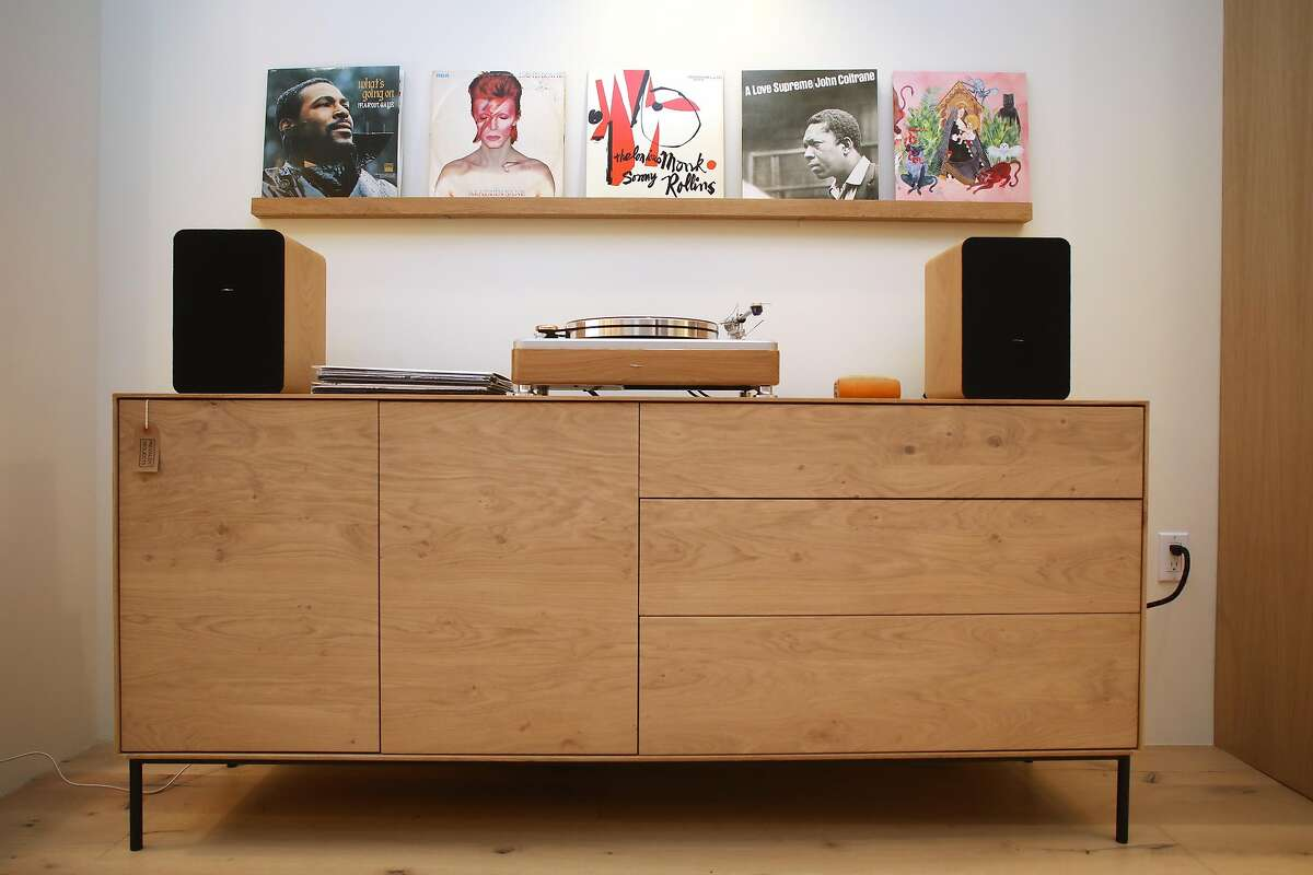 Record player on credenza with records displayed at Prevalent Projects on Monday, March 4, 2019, in Mill Valley, Calif.