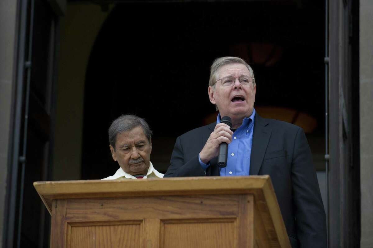 Stamford mayor David Martin speaks at the Hispanic Heritage Month celebration outside Old Town Hall in downtown Stamford, Conn. on Sunday, Sept. 23, 2018. The celebration, organized by the Latino Foundation of Stamford, included the raising of the Mexican flag and celebrated the 208th anniversary of Mexican independence.
