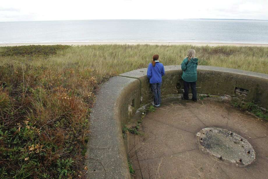 In this Oct. 6, 2010 photo, Adrienne Esposito, left, director of Citizens Campaign for the Environment, and Stella Miller, president of the Huntington-Oyster Bay Audubon Society, look over the beach from the top of an old battery, previously used for defense, on Plum Island in New York. Lawmakers in Connecticut and New York are trying to block the sale of Plum Island, the latest effort to block private development on the former germ warfare testing site in Long Island Sound that is also a habitat for over 200 bird species. Photo: Seth Wenig / Associated Press / Copyright 2018 The Associated Press. All rights reserved.