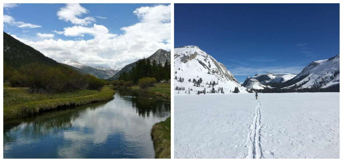 Tuolumne Meadows in Yosemite: Pictured in the summer on the left and pictured in February 2019 amid a snowy winter on the right.