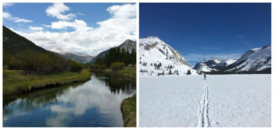 Tuolumne Meadows in Yosemite: Pictured in the summer on the left and pictured in February 2019 amid a snowy winter on the right. Photo: Left: Richard Degraffenreid. Right: Yosemite National Park