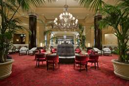 The lobby lounge at the Fairmont Hotel in San Jose.