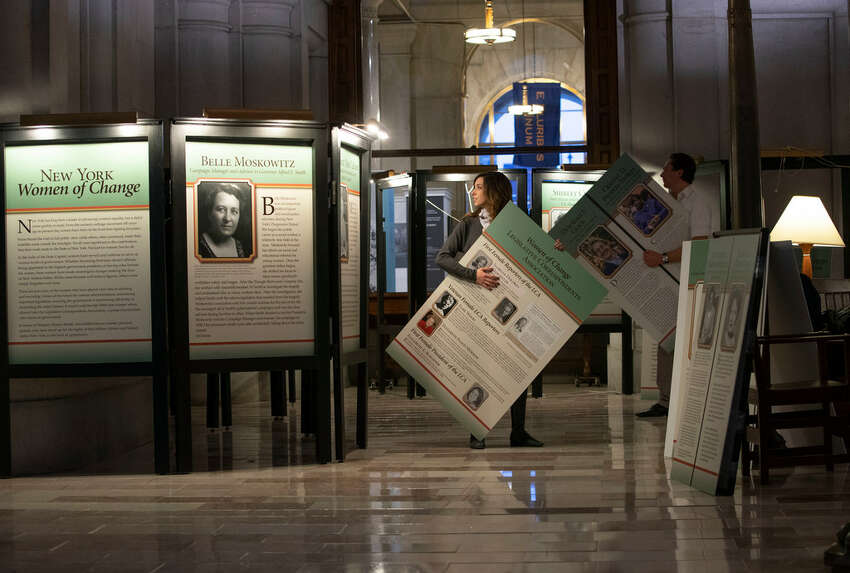 A Women's History Month exhibit is installed in the War Room at the State Capitol on Tuesday, March 5, 2019, in Albany, N.Y. (Mike Groll/Office of Governor Andrew M. Cuomo)