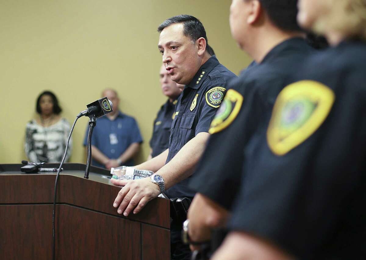 Houston Police Chief Art Acevedo talks to the media during a press conference at the police station on Thursday, Feb. 15, 2018 in Houston. Chief Acevedo was updating the media on the investigation on the officer-involved shooting incident at 7815 Harding on January 28 that left the homeowners dead and five police officers injured.