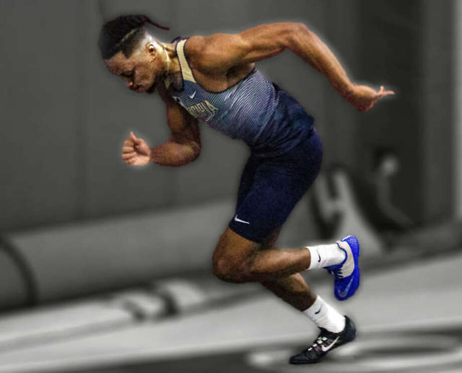 Principia's Corey Clark, a sophomore from Cincinnati, is in Boston this weekend for the NCAA Division II Indoor Track and Field Meet. Clark qualified with the ninth-fastest 200-meter run this season. Photo: Principia Athletics Illustration