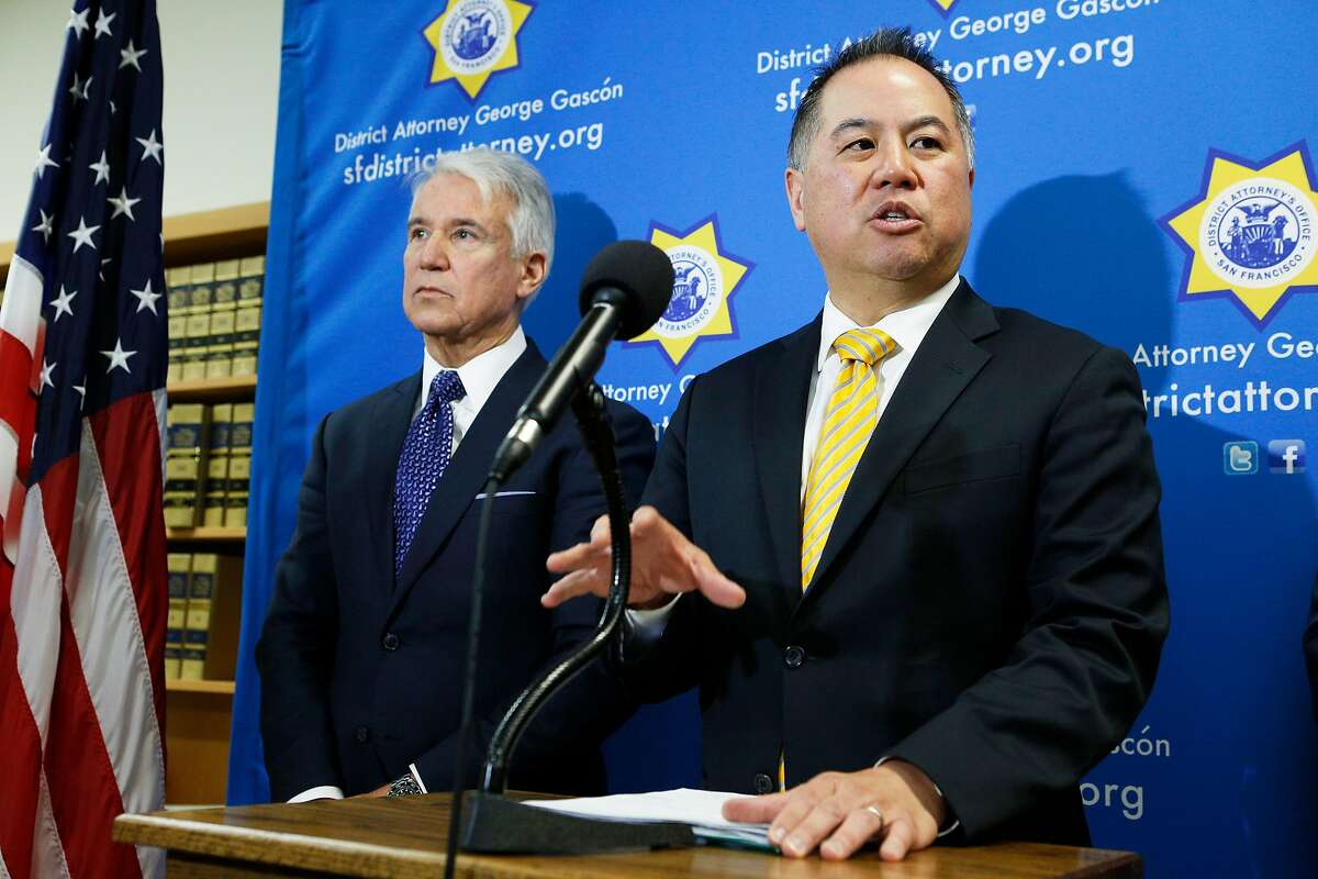 From left: District Attorney George Gasc-n and state Assemblymember Phil Ting during a news conference at the Hall of Justice on Thursday, March 7, 2019, in San Francisco, Calif. They introduced AB 1076, a new proposed legislation that would automatically clear eligible criminal and arrest records in California.