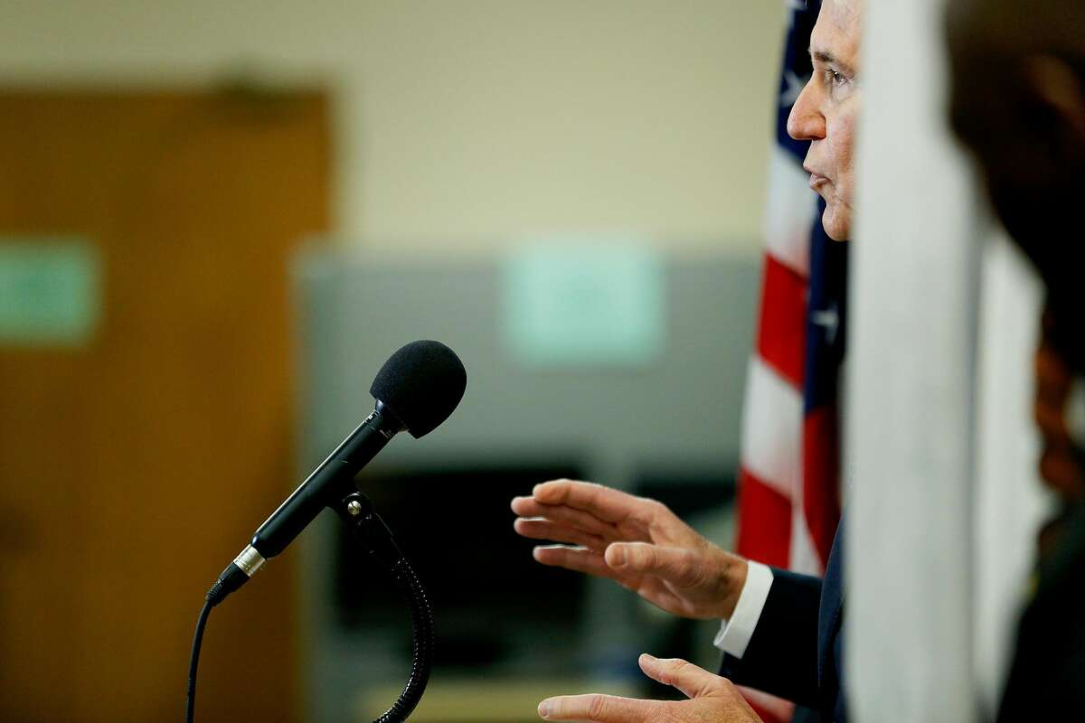 District Attorney George Gasc�n during a news conference at the Hall of Justice on Thursday, March 7, 2019, in San Francisco, Calif. Gasc�n and state Assemblymember Phil Ting introduced AB 1076, a new proposed legislation that would automatically clear eligible criminal and arrest records in California.