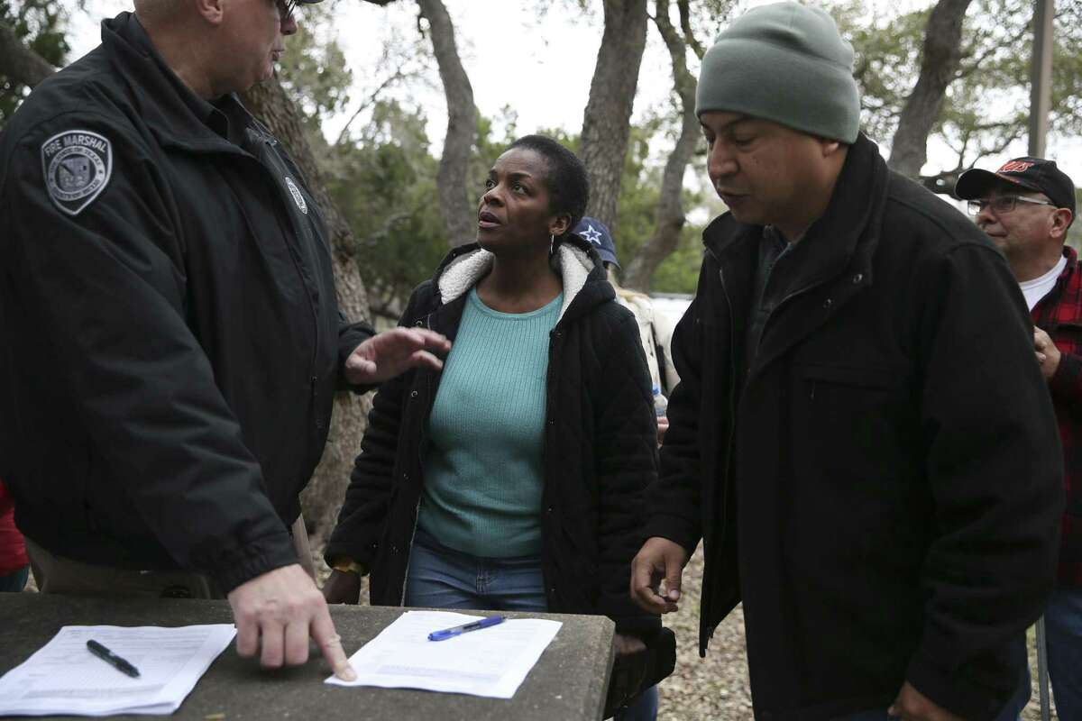 Cheryl Spencer, of New York City, signs on with a team at Eisenhower Park on March 7, 2019. Spencer is the aunt of the missing woman, Andreen McDonald. More than 300 people joined in the search for McDonald at Joint Base San Antonio-Camp Bullis. The woman was reported missing March 1. Bexar County Sheriff's deputies have arrested Andre McDonald, her husband, on a charge of tampering with evidence.
