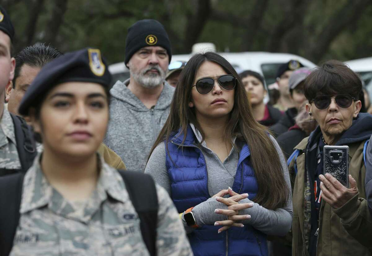 Volunteers listen to instructions during a briefing at Eisenhower Park on March 7, 2019. More than 300 people joined in the search for Andreen McDonald at Joint Base San Antonio-Camp Bullis. She was reported missing March 1. Bexar County Sheriff's deputies have arrested Andre McDonald, her husband, on a charge of tampering with evidence.
